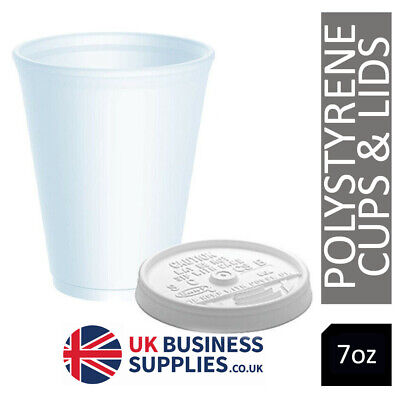 7oz Insulated Polystyrene Cups X 100 Sip Through Lids - Just £7.00 Ex VAT DART • 8.40£