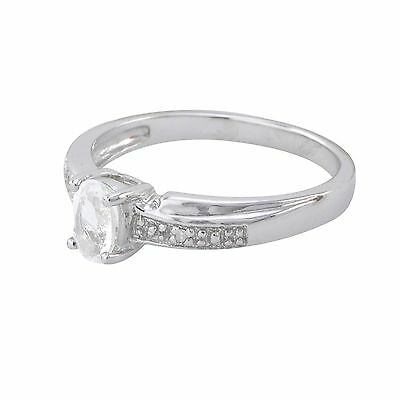£38.48 • Buy Sterling Silver Diamond Ring .01ct, I-J, I2 With 6x4mm White Topaz Stone