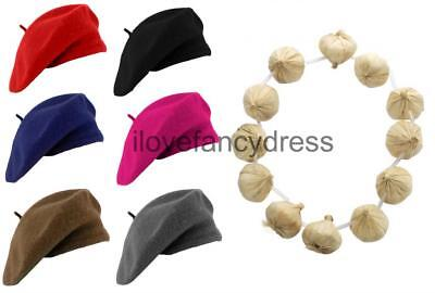 £7.99 • Buy Wool Beret And Garlic Garland Necklace French Fancy Dress Costume Bastille Day