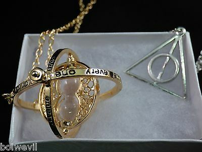$11.96 • Buy Harry Potter Time Turner Necklace&SILVER Deathly Hallow Rotating Pendant Necklac