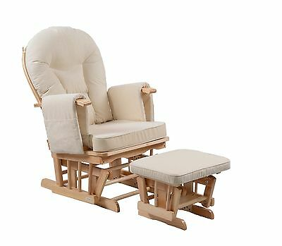 Serenity Natural Glider Nursing Maternity Gliding Rocking Chair With Footstool • 179.99£