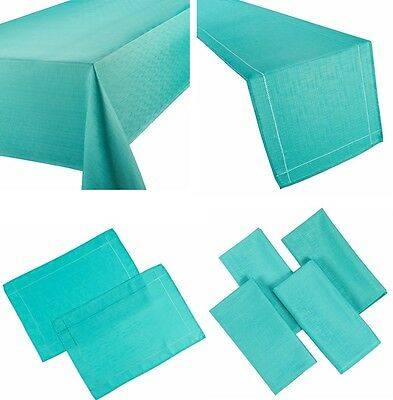 Linen Look Teal Table Cloths Turquoise Plain Birthday Party Christmas Occasions • 8.99£