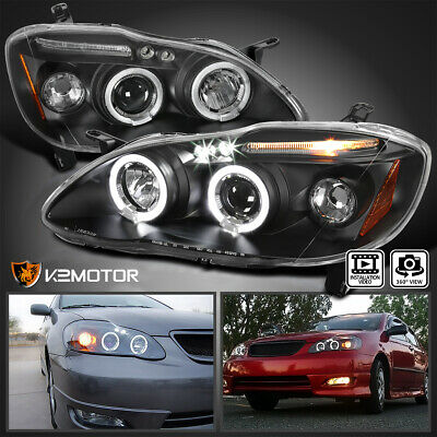$128.38 • Buy For 2003-2008 Toyota Corolla LED Halo Projector Headlights Lamp Black Left+Right