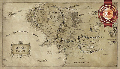 AU39.95 • Buy Middle Earth Lord Of The Rings Lotr Map Hobbit Home Print Art Premium Poster