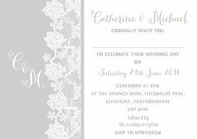 Personalised Shabby Chic Lace Soft Grey Wedding Invitations Packs Of 10 • 5.25£