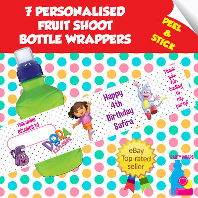 7 Personalised Dora Explorer Birthday Party Self Adhesive Fruit Shoot Wrappers • 1.96£