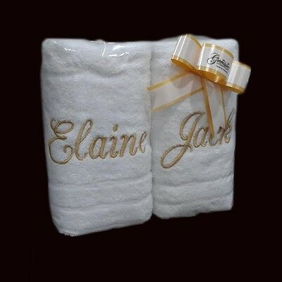 EMBROIDERED PERSONALISED TOWEL SETS  Gift Wraped Sets ANY NAME Egyptian Cotton • 26.50£