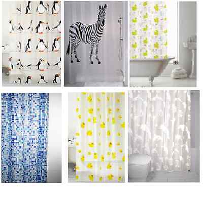 Shower Curtains Curtain Design Peva Standard Size 180 X 180 Cm With Rings Hooks  • 5.90£