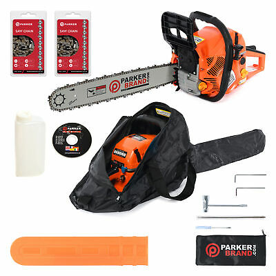 "View Details 58cc 20"" Petrol Chainsaw + 2 X Chains + More • 89.99£"