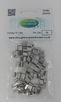 50 Aluminium Greenhouse Glass Overlap Z / S Glazing Lap Clips High Quality • 5.49£