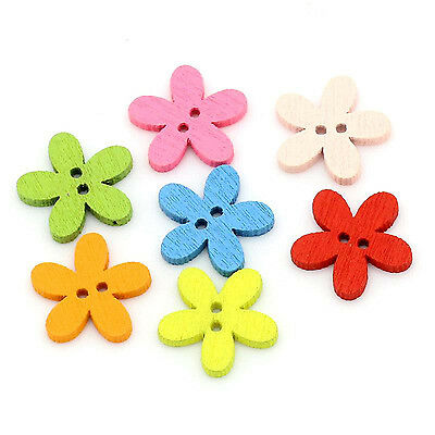 £2.29 • Buy 30 Flower Shaped Wooden Buttons - Mixed Colours - 15mm X 15mm   -  UK Seller