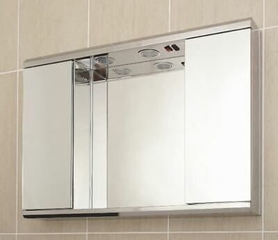 Stainless Steel  Bathroom Cabinet Mirror With Shaving Socket And Lights G2ILL • 94.57£