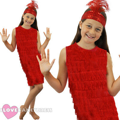 Girls Red Flapper Dress And Headpiece 1920's Fancy Dress Charleston Costume S-xl • 7.99£