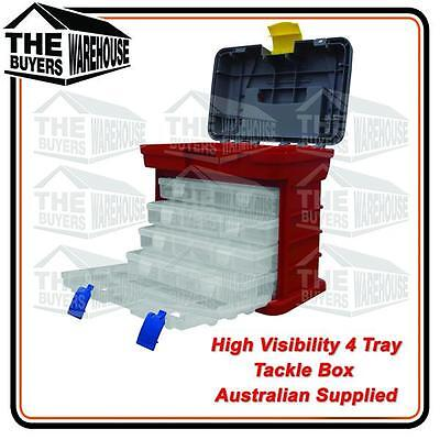 AU27.50 • Buy High Visibility Safety 4 Tray Tackle Box Plano Competitor Tool