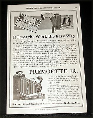 1917 Old Magazine Print Ad, Premoette Jr. Camera, It Does The Work The Easy Way! • 9.30£