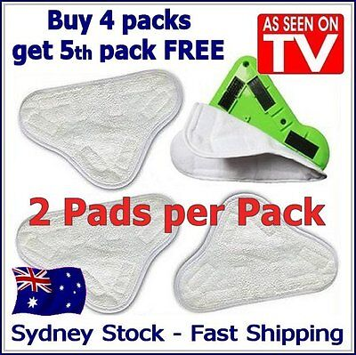 AU8.25 • Buy 2X - After-market H20 H2O StickOn White (X5 Steam Mop) Cleaning Pads Microfiber