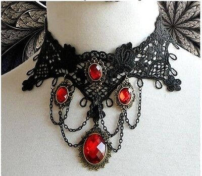 Gothic Victorian Burlesque Lace Choker Ladies Necklace Steampunk Halloween Goth • 3.29£