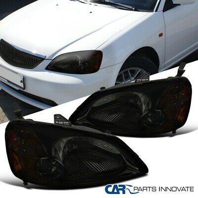 $63.95 • Buy For 01-03 Honda Civic EM ES 2/4Dr Smoke Lens Headlights Tinted Head Lights Lamps