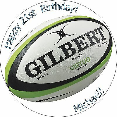 £2.79 • Buy 7.5 Inch Rugby Ball Edible Cake Toppers Decorations Wafer Paper