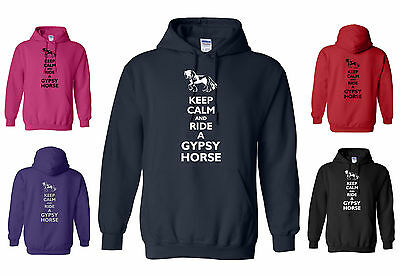 New KEEP CALM And RIDE A GYPSY HORSE, ADULT FUNNY HORSE / PONY HOODY  S To XXL • 21.95£