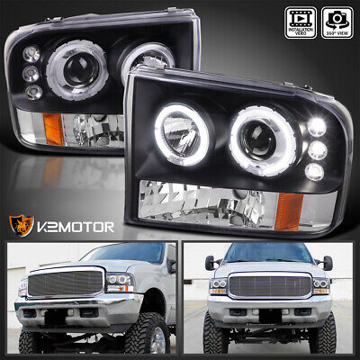 $135.38 • Buy Fit Black 1999-2004 Ford F250 F350 F450 Superduty Halo Projector Headlights Pair