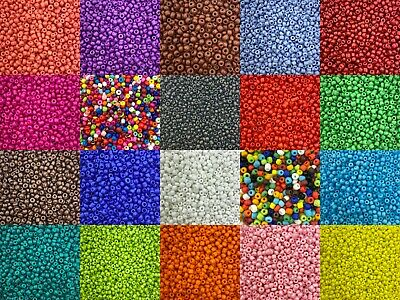 £1.99 • Buy 2mm Opaque Glass Seed Beads 50g Pack, Size 11/0 Approx 3000 Beads, Choose Colour