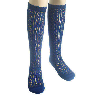 3 Pairs School Girls Knee High Cotton Socks Black White Grey Navy Blue • 5.70£