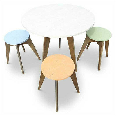 AU1700 • Buy Rustic Wooden Cafe Style Dining Table Round 6 Seater Recycled Solid Timber Top