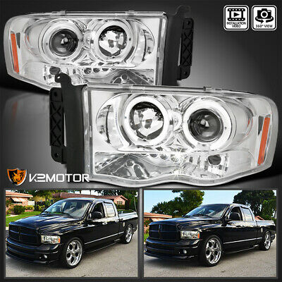 $132.38 • Buy For 2002-2005 Dodge Ram 1500 2500 3500 LED Halo Projector Headlights Left+RIght