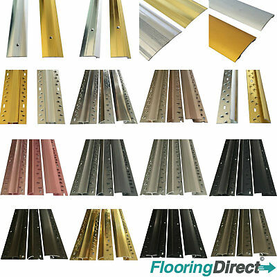 Carpet Metal Cover Strip, Door Bar Trim - Threshold - Brass/Silver/Grey - 90cm • 6.99£