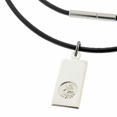 BLACK Leather Necklace & 925 Silver St Christopher INGOT Pendant + ANY ENGRAVING • 25.49£