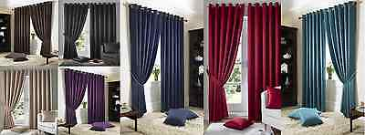 Eyelet Top Plain Modern Pattern Curtains Fully Lined Free Tie Backs Madison • 65.50£