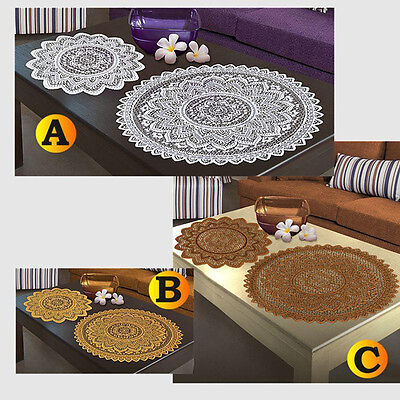 SINGLE Doilie Doily Table Centre Mat Lace White Brown Or Antique Gold Round • 3.50£