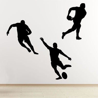 £15.99 • Buy Rugby Player Wall Stickers - 3 Pack Sports Silhouette Wall Art Stickers