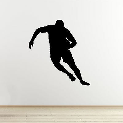 £10.99 • Buy Rugby Wall Sticker - Running Player Outline - Sports Wall Art Vinyl Decal