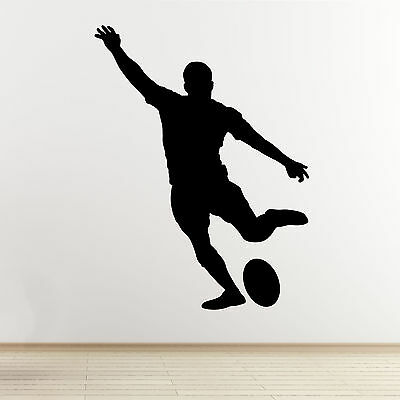 £13.99 • Buy Rugby Player Wall Art Sticker - Kicking Player Outline/Silhouette - Vinyl Decal