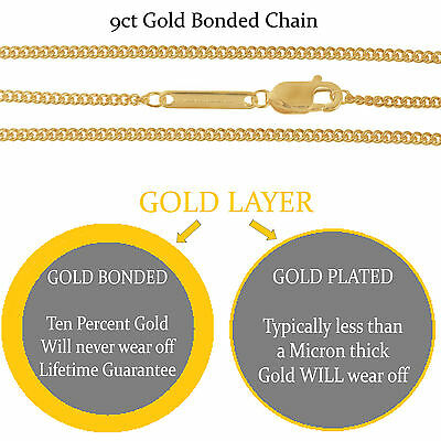 925 Silver Filled 9ct Gold Bonded CURB/TRACE Chains. Superior Quality To Plated • 18.99£