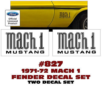 $29.95 • Buy 827 1971-72 Mustang - Mach 1 Mustang - Fender Decal Set - Two Decals - Licensed
