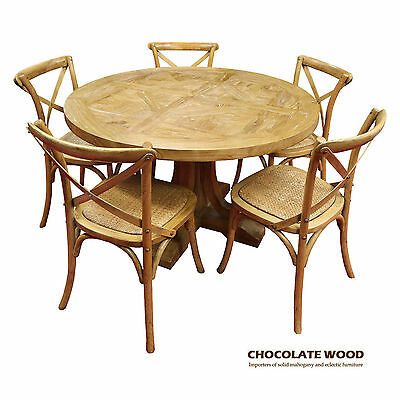 AU1699 • Buy VALENTINA ( D 120cm ) Stunning Solid Oak Round Dining Table + 5 Natural Chairs