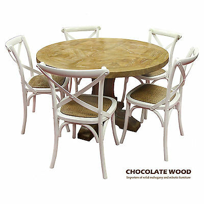 AU1699 • Buy VALENTINA ( D 120cm ) Stunning Solid Oak Round Dining Table + 5 White Chairs