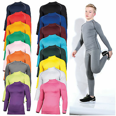 Childrens Base Layer Long Sleeve Compression Top Thermal Sports Boys Girls Kids  • 17.10£
