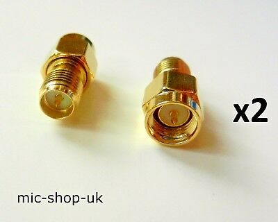 £2.95 • Buy SMA Male Plug To RP-SMA Female Plug WiFi Antenna Extender Adapter Gold Plated X2