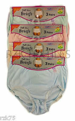 £5.95 • Buy 6 Pack Ladies Embroidered Full Briefs, Comfort Fit Maxi Underwear, Size 10-34