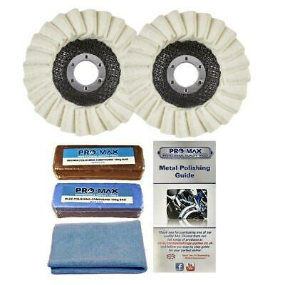 Angle Grinder Metal Polishing Kit For Aluminium Alloy Brass 5pc - Pro-Max • 18.95£