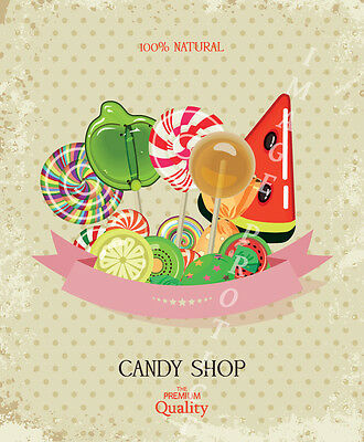 Candy Shop  Large Metal Poster Tin Sign Kitchen Sweet Shop Decor Retro Style  • 12.99£