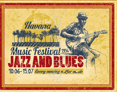 Jazz And Blues Music Festival 1954 Large Metal Tin Sign Poster Vintage Style  • 12.99£