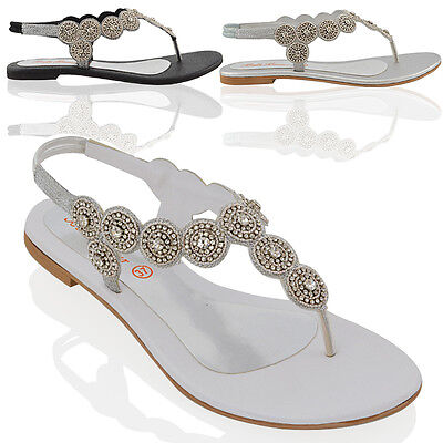 £17.99 • Buy Womens Slingback Flat Sandals Ladies Diamante Black Silver Holiday Party Shoes