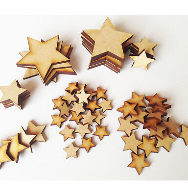 Wooden MDF Star Christmas Shapes Craft Blank Cutouts Plaque And Card Making 3mm • 1.09£