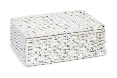 Hamper Storage Basket White Small Paper Rope Box With Lid  • 5.99£