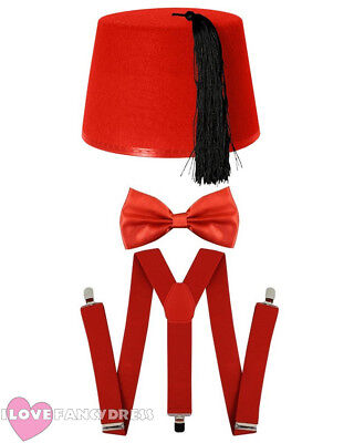£8.99 • Buy Red Fez Hat Bow Tie And Braces Time Traveller Fancy Dress Costume Tv Character